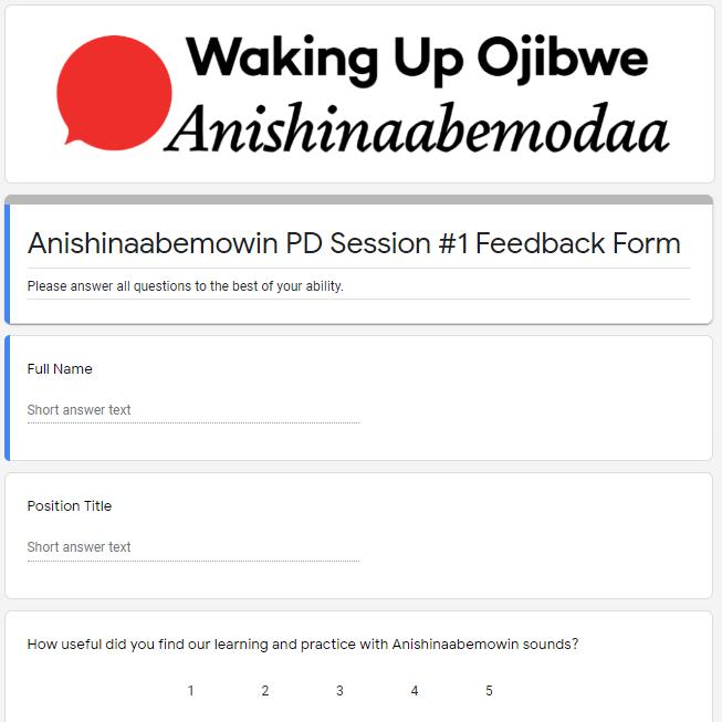 Feedback Form - Anishinaabemowin I