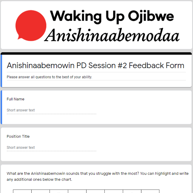 Feedback Form - Anishinaabemowin II