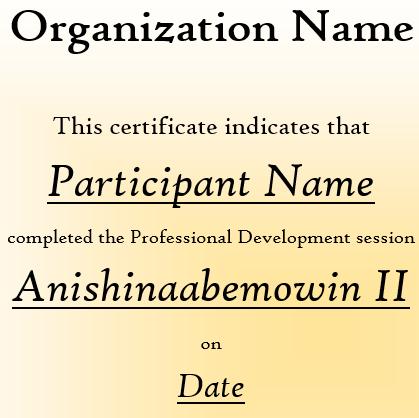Certificate of Completion - Anishinaabemowin II