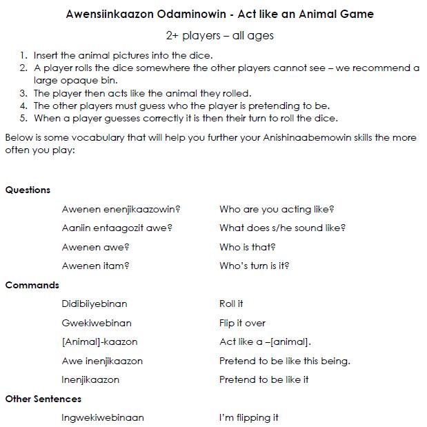 Awensiinkaazon Odaminowin - Dice Game & Cards