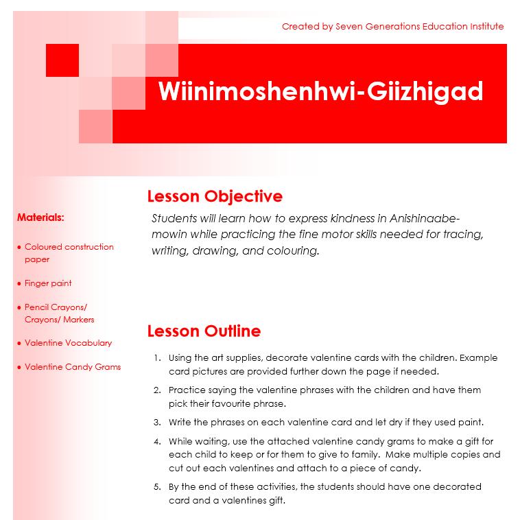 Wiinimoshenhwi-Giizhigad Lesson Plan