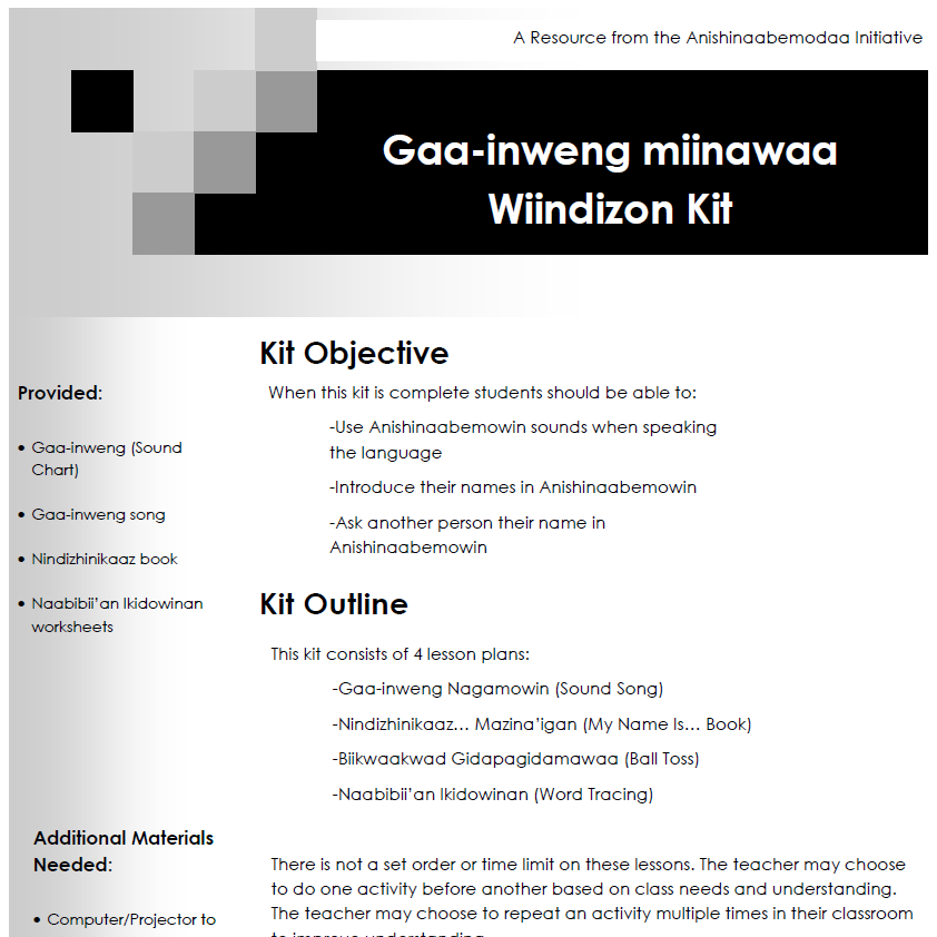 Gaa-inweng miinawaa Wiindizon Kit - Lesson Plans