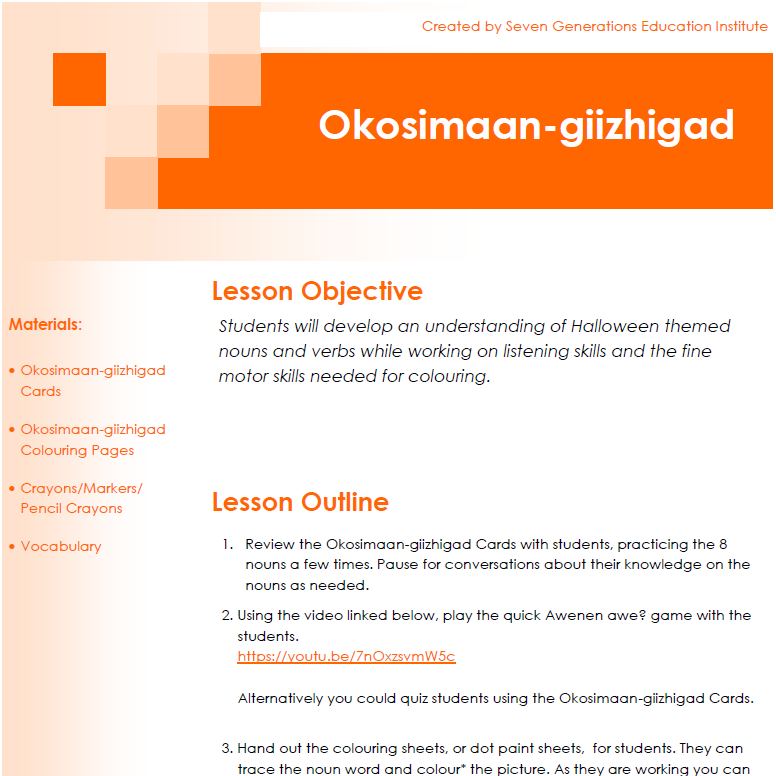 Okosimaan-giizhigad - Lesson Plans