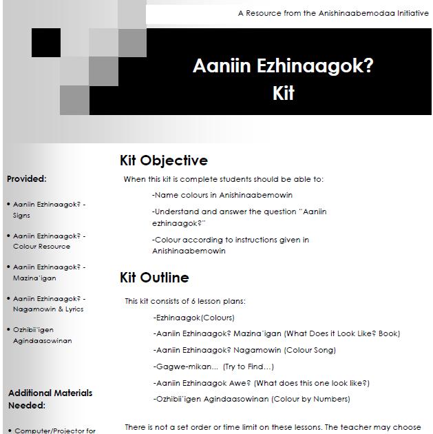 Aaniin Ezhinaagok - Lesson Plans