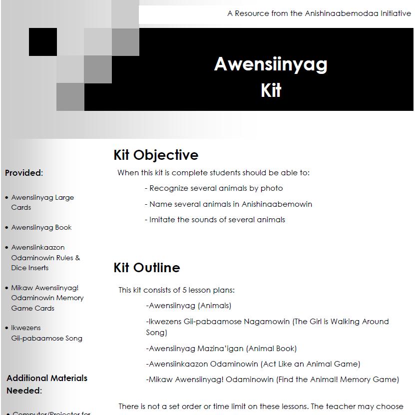 Awensiinyag Kit - Lesson Plans
