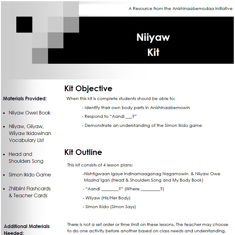 Niiyaw Kit - Lesson Plans