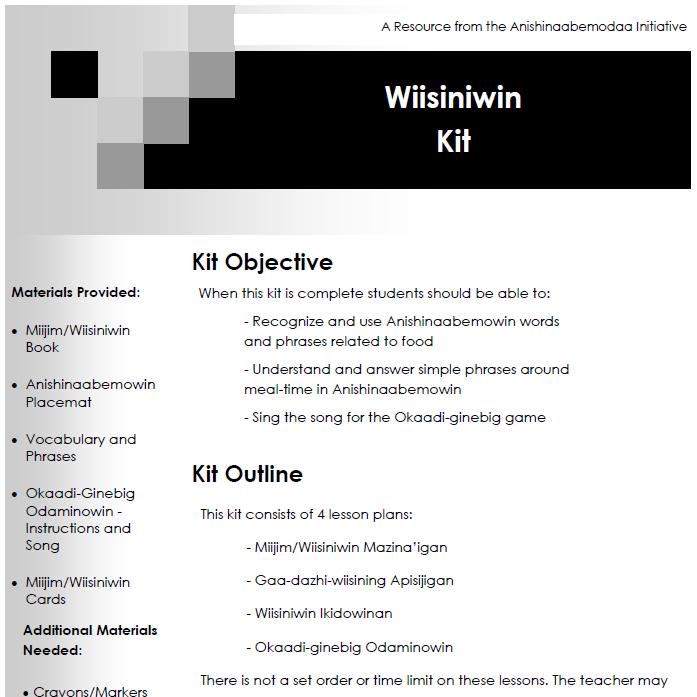 Miijim Wiisiniwin - Lesson Plans
