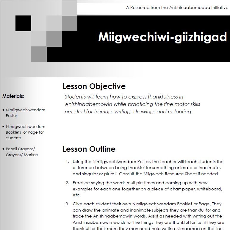 Miigwechiwi-giizhigad - Lesson Plans