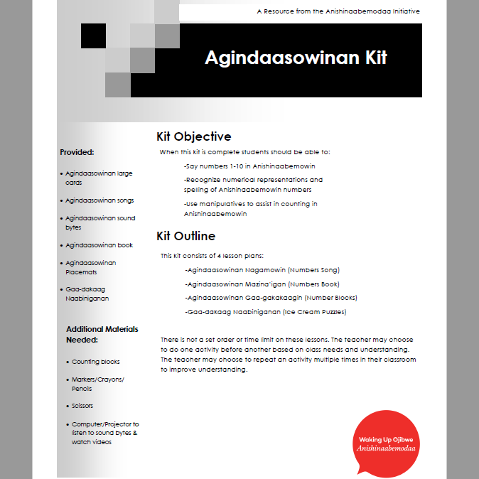 Agindaasowinan - Lesson Plans
