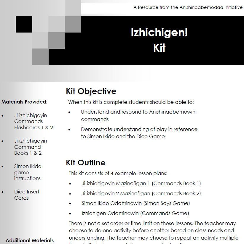 Izhichigen! Kit - Lesson Plans
