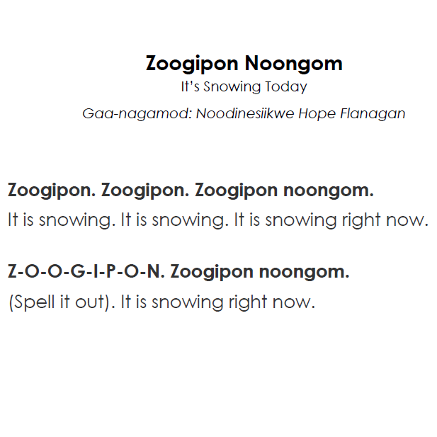 Zoogipon Noongom - Lyrics