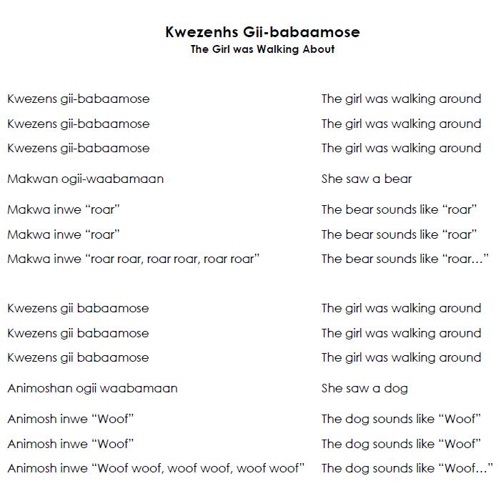 Ikwezens Gii-pabaamose Nagamowin - Song Lyrics