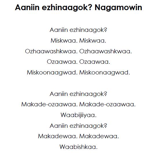 Aaniin Ezhinaagok - Nagamowin Lyrics