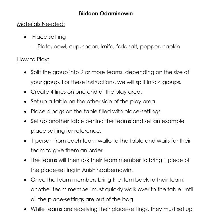 Biidoon Game Instructions