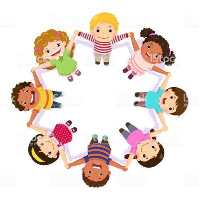 illustration of a children holding hands in a circle