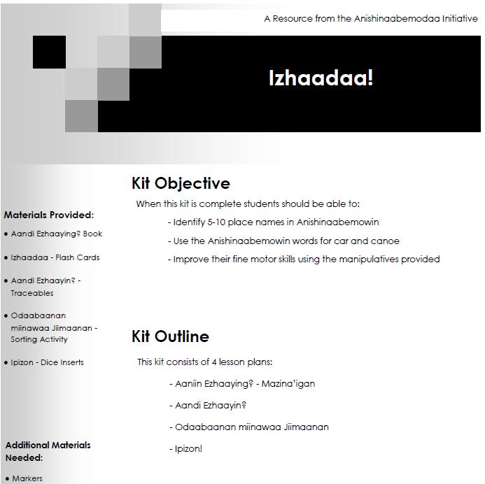 Izhaadaa! - Lesson Plans