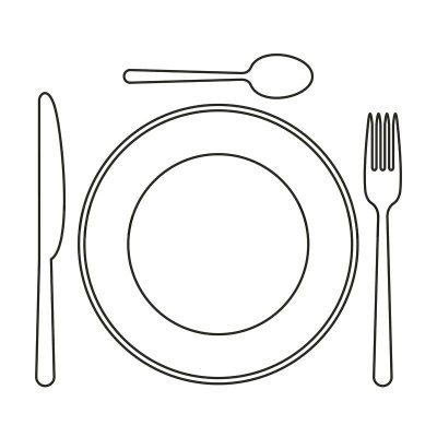 illustration of a plate, knife spoon and fork