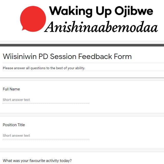 Wiisiniwin Feedback Form