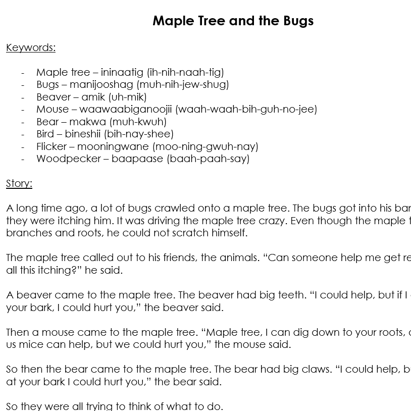 Maple Tree and the Bugs Story with Anishinaabemowin Keywords