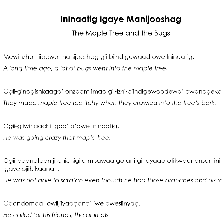 Ininaatig igaye Manijooshag Story