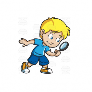illustration of a child with a magnifying glass