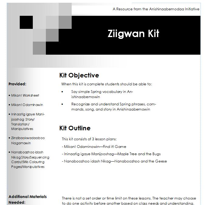 Ziigwan Lesson Plans