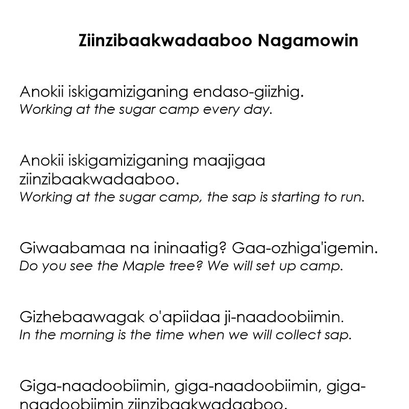 Ziinzibaakwadaaboo Nagamowin - Maple Sap Song