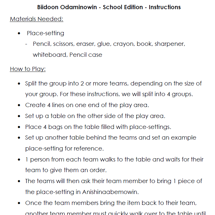 Biidoon Odaminowin - School Edition - Instructions