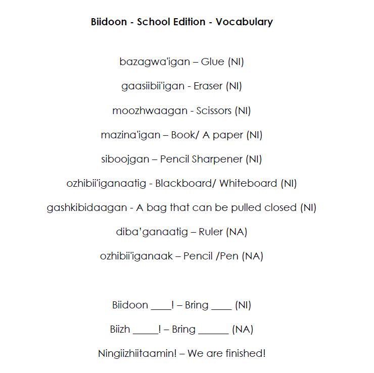 Biidoon Odaminowin - School Edition - Vocabulary