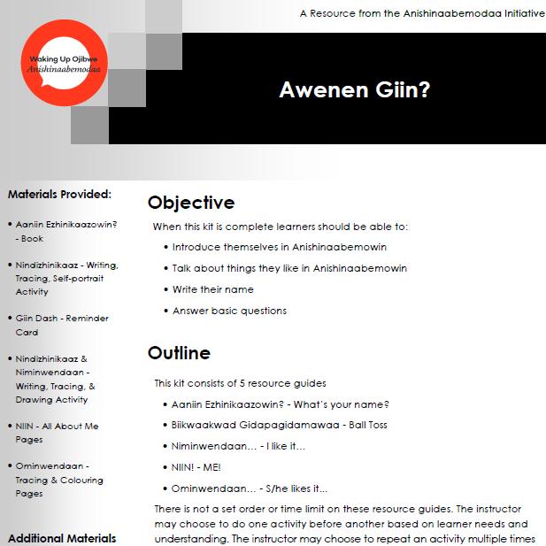 Awenen Giin? - Resource Guides