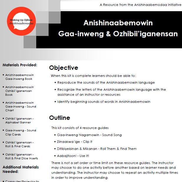 Anishinaabemowin Gaa-inweng & Ozhibii'iganensan - Resource Guides