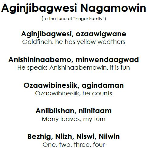 Aginjibagwesi Nagamowin - Lyrics