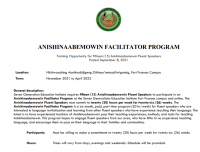 Anishinaabemowin Facilitator Program Posting